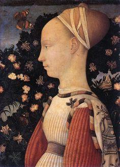 Portrait of a Princess of the House of Este (1436-1449). Louvre, Paris. Born, Antonio di Puccio Pisano c. 1395