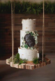 Birch Wood Inspired Wedding Cake. A birch tree inspired wedding cake adorned with a chalkboard monogram by Alliance Bakery.