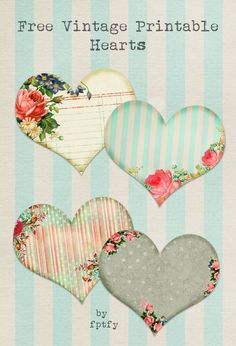 Free Vintage Printable Hearts...perfect as tags on Mason Jars!