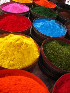 Colors made naturally from flowers etc.. In Peru.
