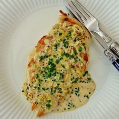 Dress up spring chicken with leeks, scallions and chives in Dijon cream sauce.