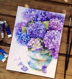 Splattered Watercolor Paintings Capture the Beautiful Vibrancy of Delicate of Flowers - Watercolor Flowers - Flowers Arte Floral, Watercolor Flowers, Drawing Flowers, Painting & Drawing, Watercolour Paintings, Watercolors, Watercolor Techniques, Sponge Painting, Watercolor Artists