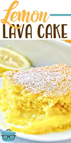 This Easy Lemon Lava Cake recipe has a layer of warm pudding on the bottom and moist lemon cake on top. All sprinkled with powdered sugar! #lemoncake #dessert