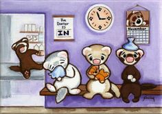 Original Painting - Ferrets Waiting to See Doctor - Outsider Art Shelly Mundel