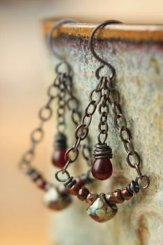 Deep Dark Red Boho Dangle Earrings by Sparrowtaledesign on Etsy