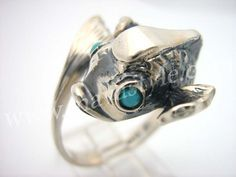 Sterling Silver Fish Ring Turquoise  Bague de Poisson by MAVAStyle, $209.99