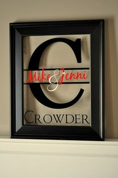 Vinyl lettering on a picture frame...