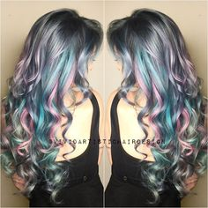 Curly silver hair with pink, purple and blue highlights | IG: vividartistichairdesign