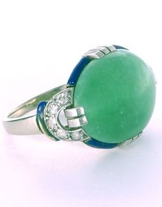 An Art Deco jadeite, diamond, enamel and platinum ring, French, 1925, with French assay marks. #ArtDeco #ring