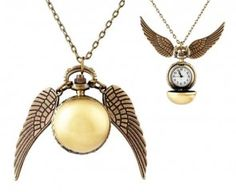 Colar Pomo de Ouro Steampunk c/ relógio - Harry Potter