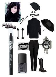 """""""all black school outfit"""" by emogirlforlife ❤ liked on Polyvore featuring J Brand, Acne Studios, Demonia, NARS Cosmetics and Bullet"""