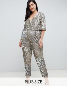 71a136feb57 Plus sequin wrap front jumpsuit in multi silver Silver Jumpsuits