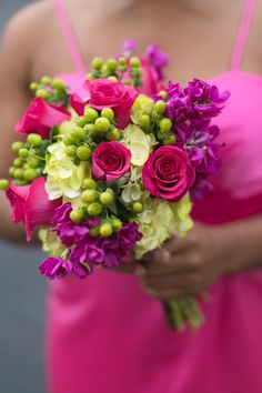 Hot pink/ fucshia bridesmaid bouquet by Dorothy McDaniel's Flower Market | Morgan Trinker Photography