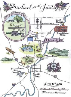 Custom Wedding Map drawn painted and lettered by trialbycupcakes, $350.00