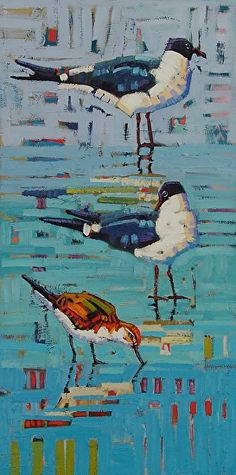 """""""Seagulls And A Sandpiper,"""" by Rene' Wiley by Rene' Wiley Gallery Oil ~ 24 x 12"""