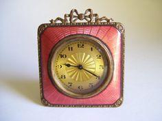 Vintage Guilloche Enamel & Brass Travel Clock by CottageChicKay, $72.00 Found on Etsy