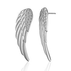 925 Sterling Silver Cubic Zirconia CZ Long Spread Angel Wing Post Earrings * Click image for more details.