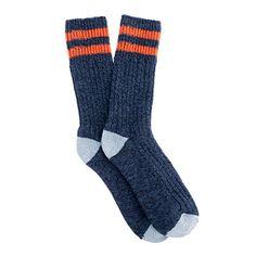 Cotton blend camp socks in navy and orange stripe
