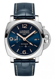 The Panerai Luminor 1950 10 Days GMT Automatic Acciaio with blue dial and stitched blue leather strap is powered by the in-house Panerai movement, Caliber P.2003, which stores at least 10 days' worth of winding autonomy in its three spring barrels.