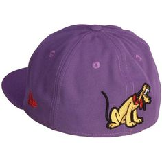 New Era and Disney Character 59Fifty Flatbill Cap Pluto ($36) ❤ liked on Polyvore featuring accessories and disney