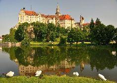 Niemcy, Zamek, Sigmaringen, Jezioro, Łabędzie