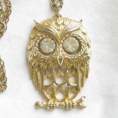 Vintage OWL with Rhinestone Eyes Pendant by MyVintageJewels, $16.00