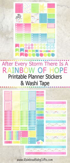 After Every Storm There Is A Rainbow Of Hope Printable Planner Stickers And Washi Tape by RainbowBabyGifts https://www.etsy.com/ca/listing/463954254/watercolor-planner-stickers-pastel