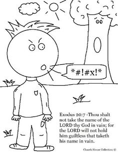 Ten Commandments Coloring Page for Third Commandment Thou shalt not take the lord's name in vain coloring sheet for kids Sunday school Exodus 20:7