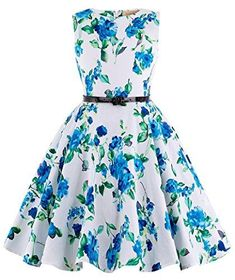 9c58f78a4a0 GRACE KARIN Blue Floral Vintage Wiggle Girl s Sleeveless Casual Party  Dresses 11~12Yrs K250-