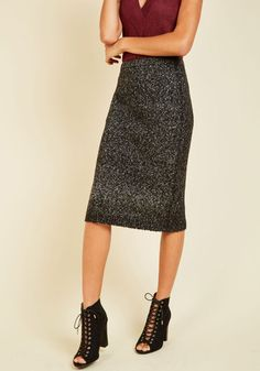 Good, Sweater, Best Pencil Skirt by Jack by BB Dakota - Grey, Solid, Work, Casual, Minimal, Pencil, Fall, Winter, Knit, Long, Party, Cocktail, Girls Night Out, Holiday Party, Pinup, Vintage Inspired, 60s, 70s, Luxe, Statement, Better, Metallic