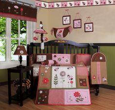 Geenny Boutique ~ Ladybug Flower Baby Girl Nursery Bedding