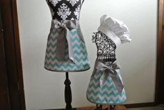Mother/Daughter Chevron Half Aprons with Pockets by LizzysBiz, $42.00
