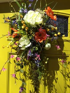BEAUTIFUL FRONT DOOR Moss Covered Cone Arrangement, Spring, Summer Wreath, Bright Florals, 30 in x 21 in by CustomFloralDesigns on Etsy