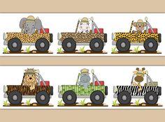 Safari Animal Nursery Transportation Jeep Wallpaper Border Wall Decals Stickers #decampstudios