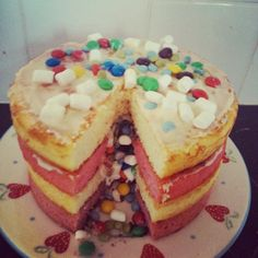 #cake #making #baking #finally #done #over #knackered #wornout #tired #slaved #lovely #yummy #pink #white #m&ms #marshmallow #smarties #cream #frosting #icing #layered