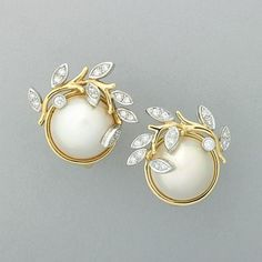 TIFFANY  CO. GARLAND MABE PEARL DIAMOND EARRINGS