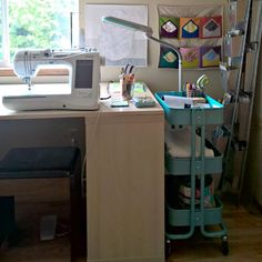 """""""A Quilter's Table: Studio Five :: Sewing & Cutting Surface"""" More pics at the source as well as links to an original sewing room tour and subsequent changes."""