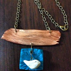 Polymer clay driftwood with bird pendant by BlackByrd Jewelry