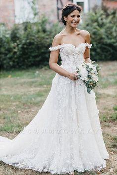 Flowers Off-the-Shoulder Wedding Dresses UK Wedding Dresses Uk, Cheap Wedding Dresses Online, Amazing Wedding Dress, Wedding Dress Accessories, Bridal Dresses, Bridesmaid Dresses, Applique Wedding Dress, Applique Dress, Princess Wedding