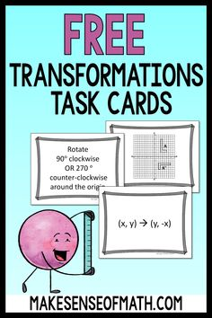 Grab these free transformation task cards and ideas to use them in your middle school math, 8th grade math, and Geometry classrooms. These are perfect for your students to reinforce the concept and have fun while practicing transformation. These could also be used for congruence and similarity activities. 8th Grade Math, Eighth Grade, Fun Math Activities, Math Resources, Solving Equations, Formative Assessment, Classroom Games, Critical Thinking Skills, Math Stations