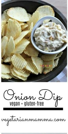 Nothing beats this gluten free and dairy Onion Dip as a tasty snack or side dish. YUM! | dip recipes | onion dip | gluten free dips | dairy free dips | appetizer recipes || Vegetarian Mamma #dip #appetizer #snacks