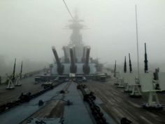 View from the bow on a foggy morning.  USS North Carolina (BB 55)  mw