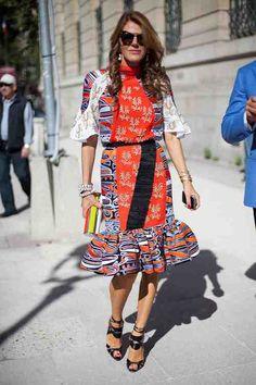 Street Style: Anna Dello Russo embraces fashion's gypset moment.
