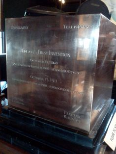 A cube of copper on display in the Edison office/library, given to Edison to commemorate his work with fostering the growth of the copper industry. Alva Edison, Patent Drawing, The Fosters, Cube, Flat Screen, Copper, Display, Drawings, Blood Plasma