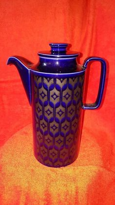 Rare Hornsea Heirloom Blue Coffee Pot - 70's - Retro  - Vintage -  Collectable