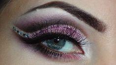 purple brown pink glitter makeup