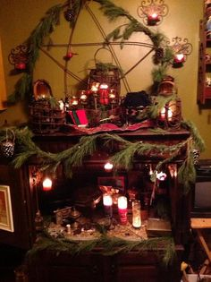 from enchantedwitchery. 'Another beautiful Altar submit. - from enchantedwitchery… 'Another beautiful Altar submitted by Michael Russ from enchantedwitchery. 'Another beautiful Altar submit. Yule Decorations, Christmas Decorations, Holiday Decor, Pagan Christmas, Yule Celebration, Pagan Yule, Yule Crafts, Witch Cottage, Wiccan Altar
