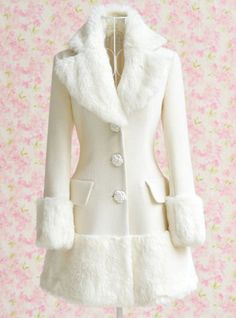 Elegant Turn-Down Collar Fake Fur Embellished Long Sleeve White Coat For Women, WHITE, S in Jackets & Coats | DressLily.com