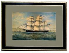 """Original of American Bark PARAMOUNT Based on a 19th Cent work by Corsini On silk  24 3/4"""" x 20 1/4""""  Newly framed"""