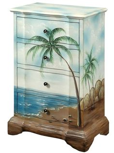 Beach Scenes Paintind on Furniture: http://beachblissliving.com/beach-art-on-furniture-painted-dresser-chest/